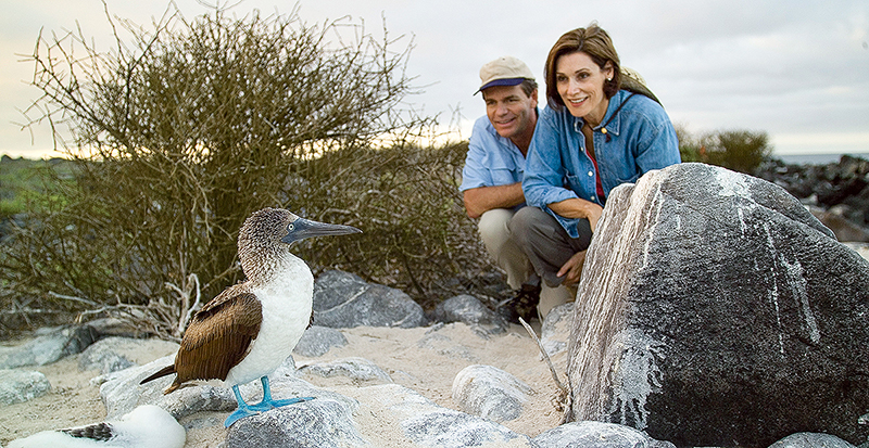 Couple on Galapagos Cruise watching Blue Footed Booby