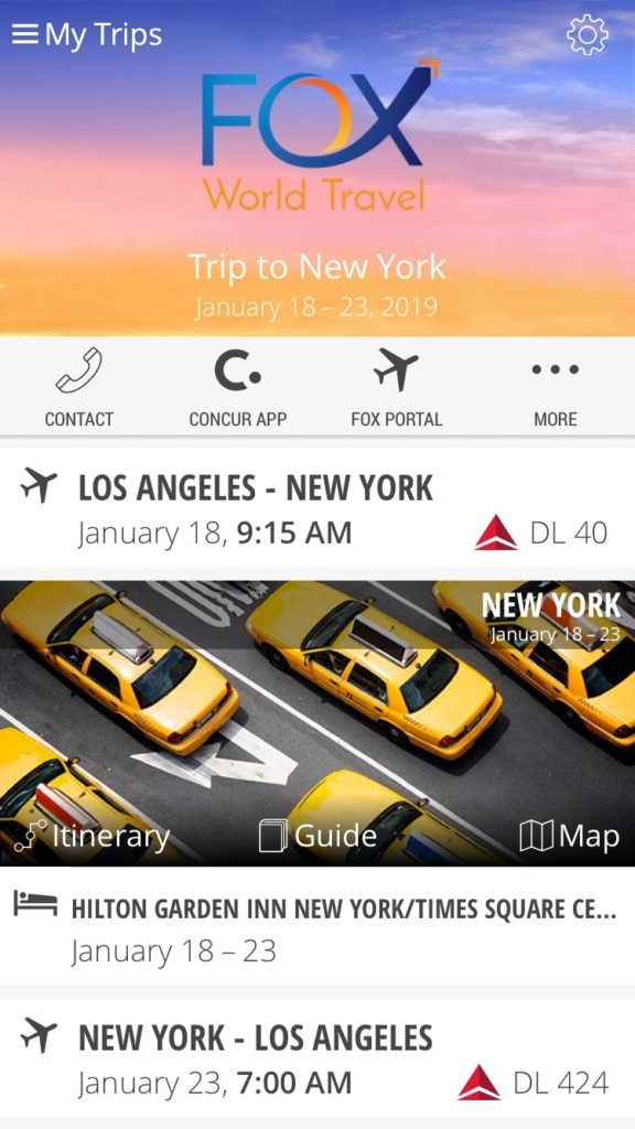 Fox's travel technology mobile app