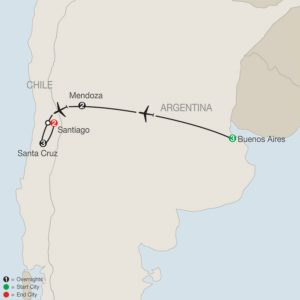 map of vineyards of south america tour