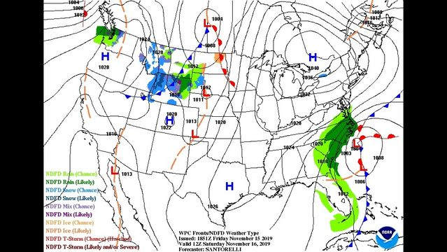 Friday Evening November 15th – Watching a few systems over the next few days