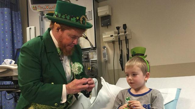 Leprechaun visits St. Mary's Hospital on St. Patrick's Day