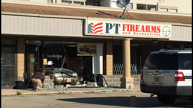 Thief drives into Cross Plains gun shop, steals multiple firearms, sheriff says