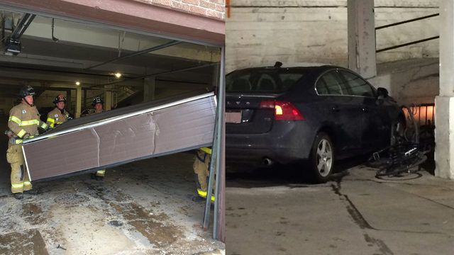 Vehicle crashes while driving through local car wash