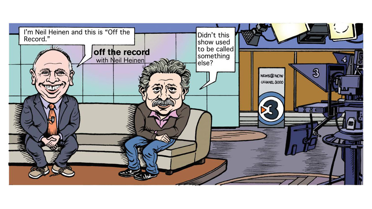 comic strip image of Neil Heinen and Paul Soglin on the set of News 3 Now