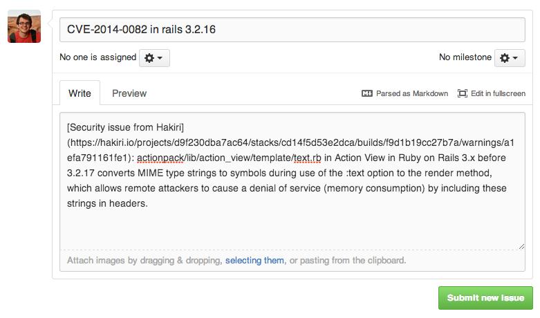 Hakiri: prefilled GitHub issue