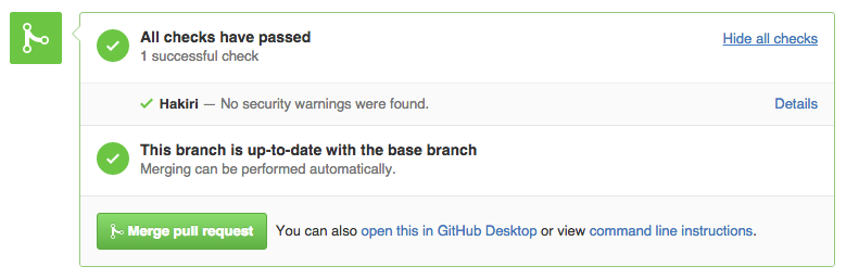 Hakiri GitHub Pull Request Success