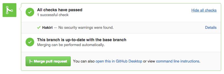 Hakiri GitHub Pull Request Success