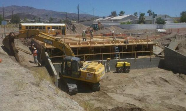 ORO GRANDE BOX CULVERT - Lake Havasu City, AZ. Relocation of a water line and construction of concrete box culverts.