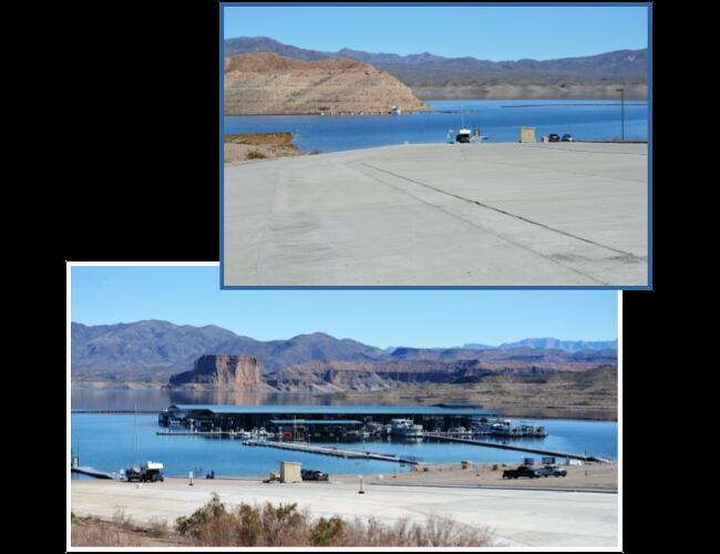 TEMPLE BAR LAUNCH RAMPS - Lake Mead, AZ. Low water mitigation project for the National Park Service involving various locations around Lake Mead, including Temple Bar. Project included concrete extensions of existing boat ramps, installation of cable anchors, and bank stabilization.