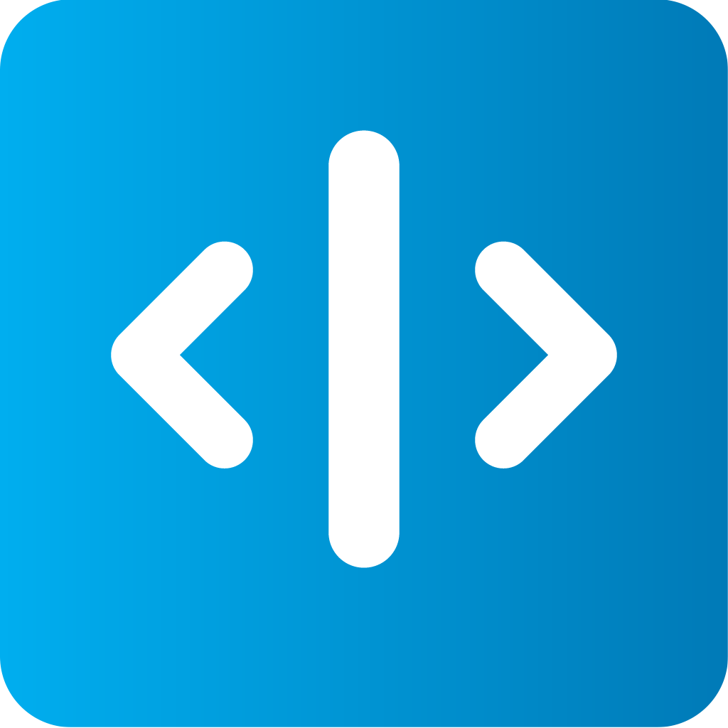 Logo icon with left and right arrows with a line between them