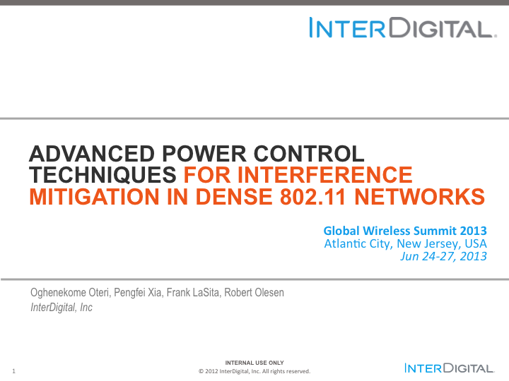 Advanced Power Control Techniques For Interference Mitigation In Dense 80211 Networks