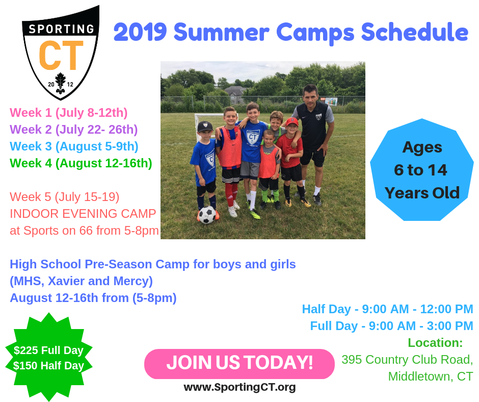 Sporting CT Summer Camps 2019 | Middletown Youth Soccer