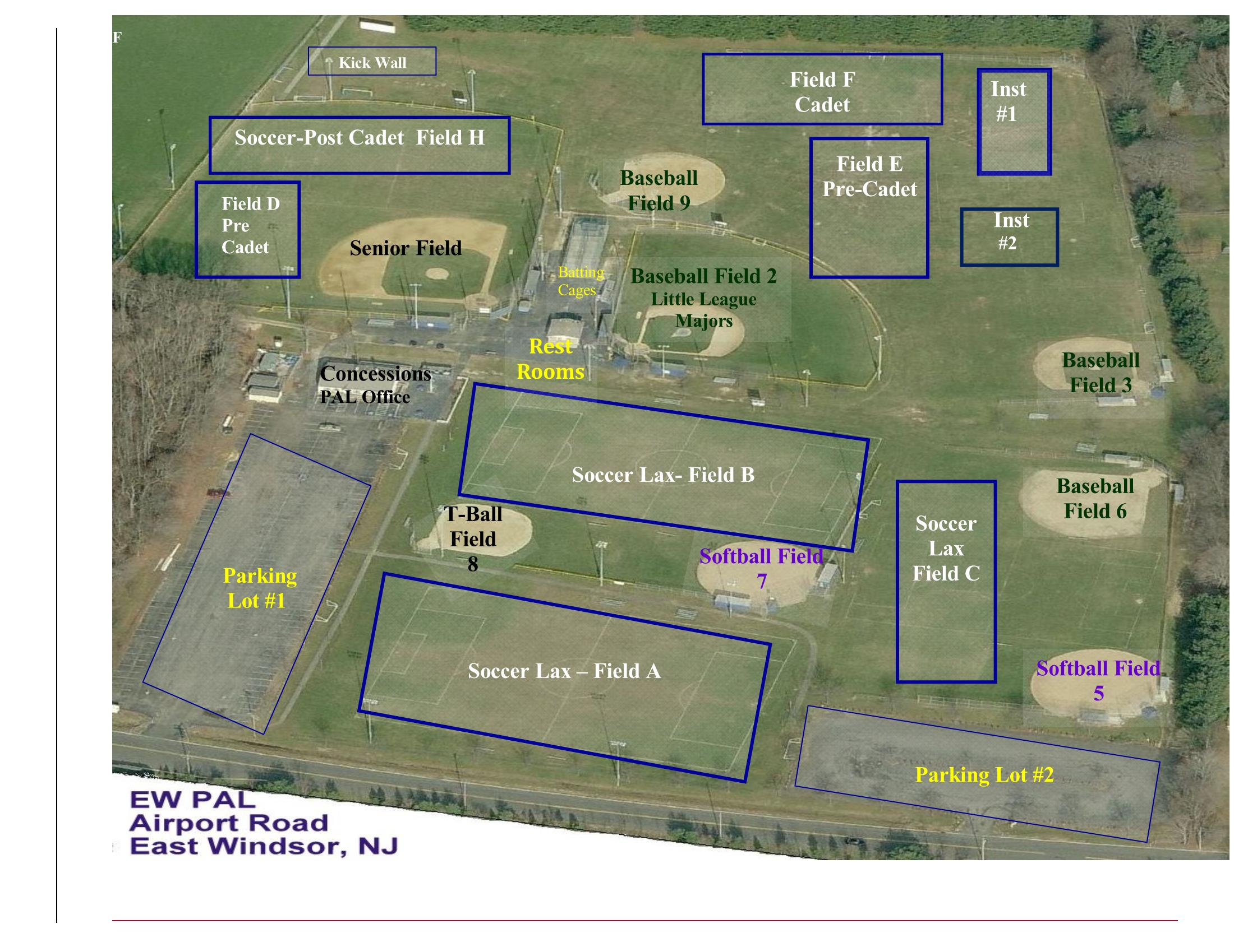 Spring Field Map 2018 | East Windsor Police Athletic League