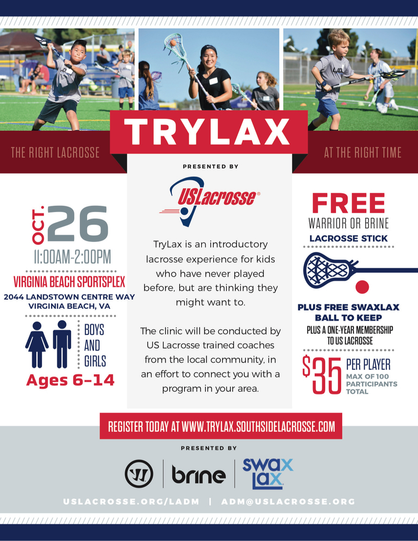 TryLax Introductory Lacrosse Clinic sponsored by US Lacrosse