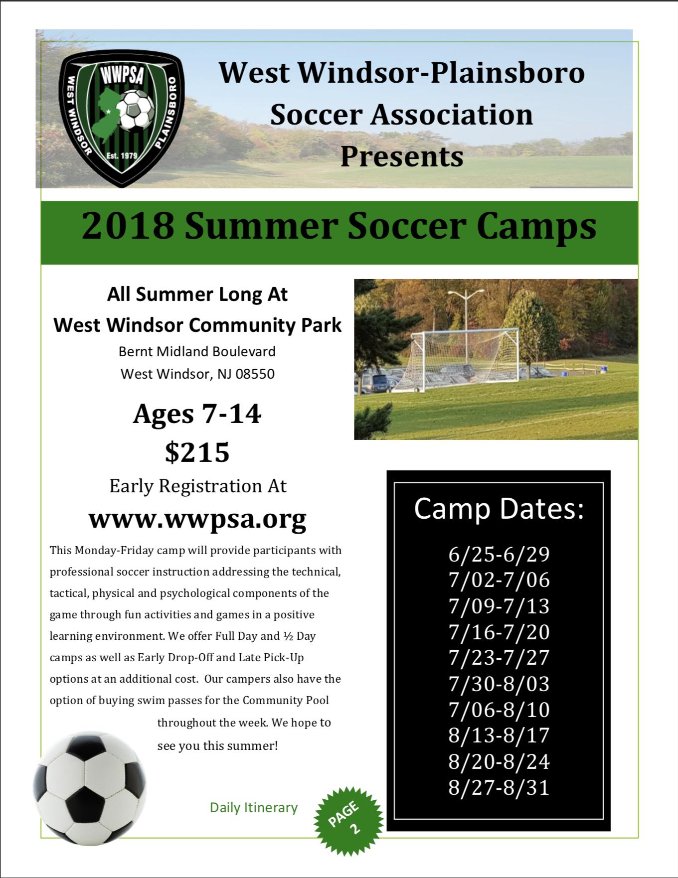 Summer Soccer Camps West Windsor Plainsboro Soccer Association