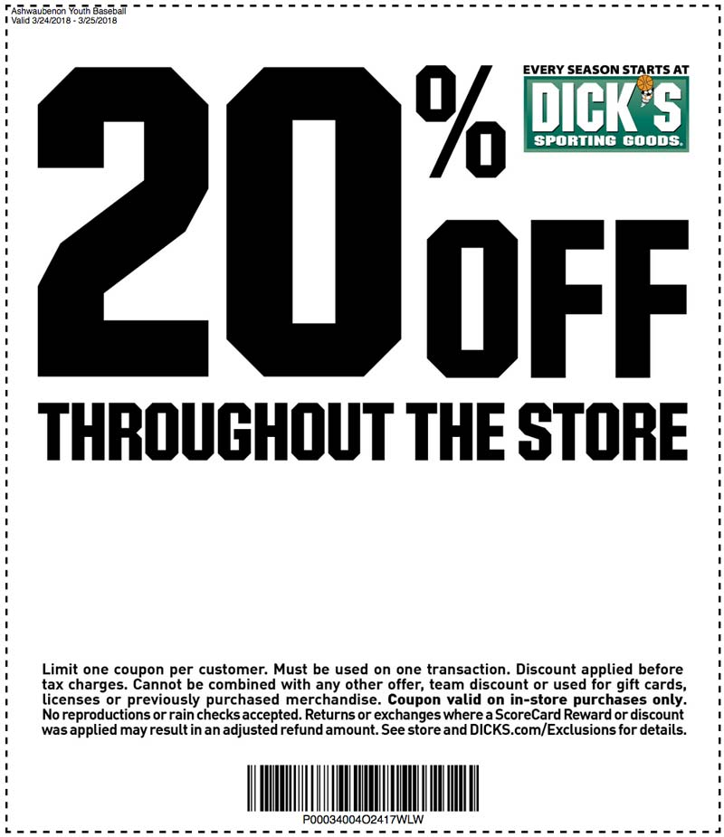 DICK's Sporting Goods 20% off discount coupon