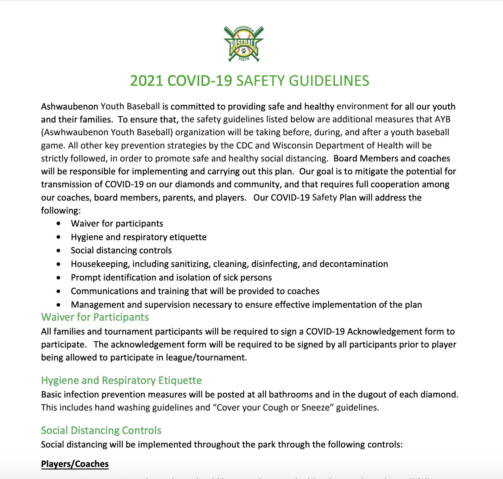 2021 League COVID-19 Safety Guidelines