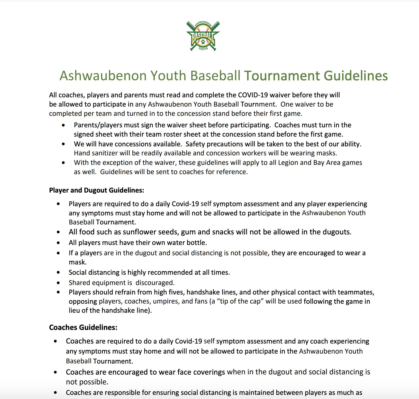 2021 Tournament COVID-19 Safety Guidelines
