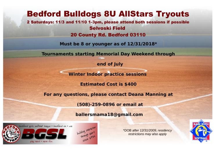 8U Tryouts 2019 AS | Bedford Girls Softball League
