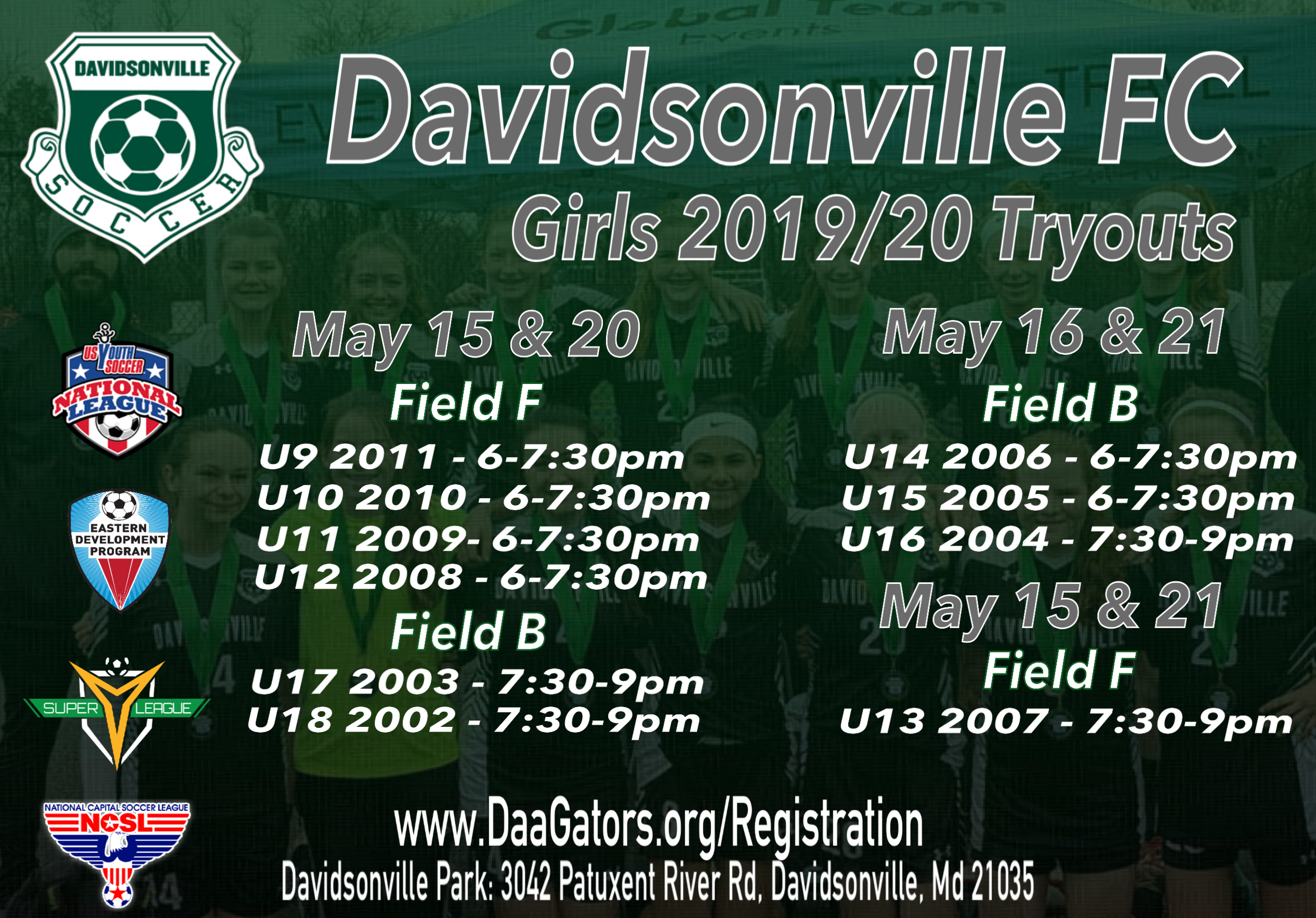 Girl's Tryout Schedule | Davidsonville Athletic Association