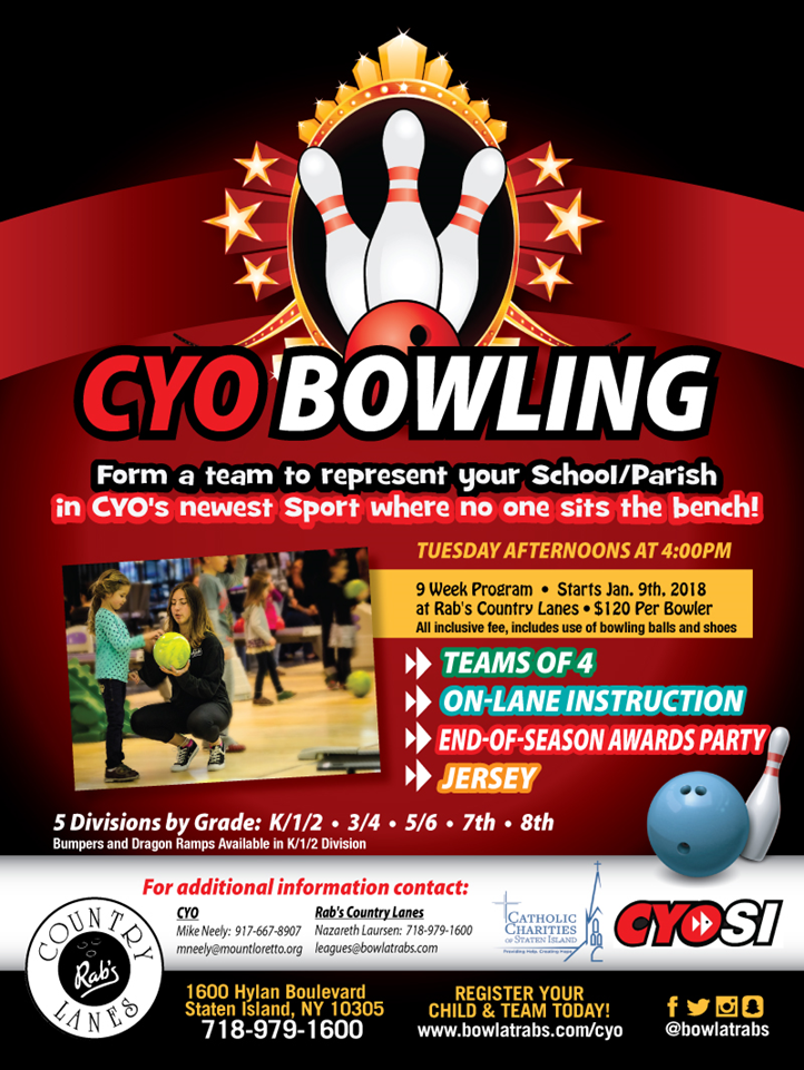 To Volunteer to help coordinate OLGC CYO Bowling, please email olgcsportsassociation@gmail.com