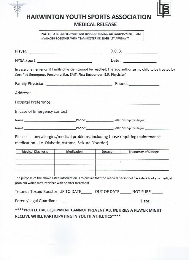 Medical Release Form | Harwinton Youth Sports Association