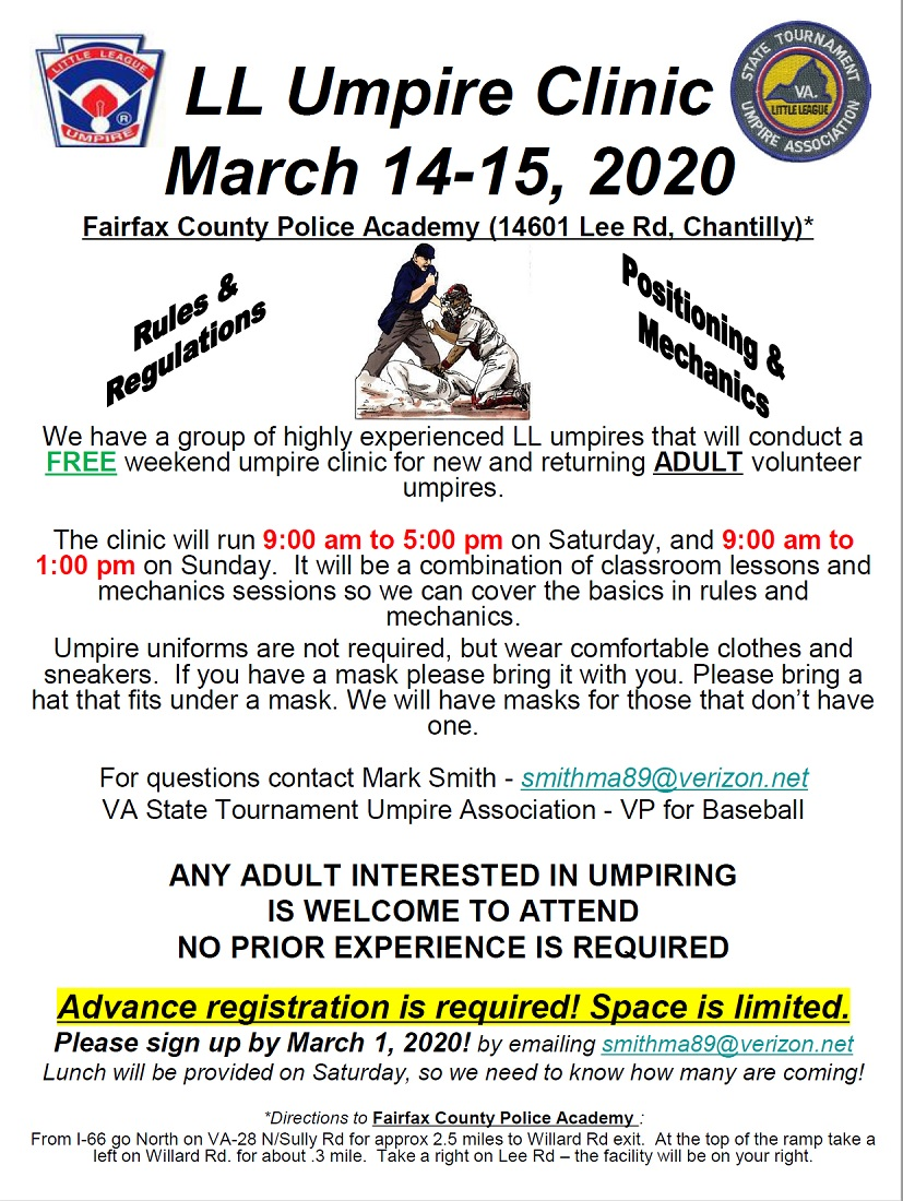 2020 Little League Umpire Clinic
