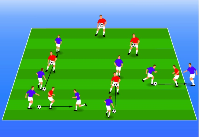 WSA Soccer Drills U5 Plus Gates game with partner