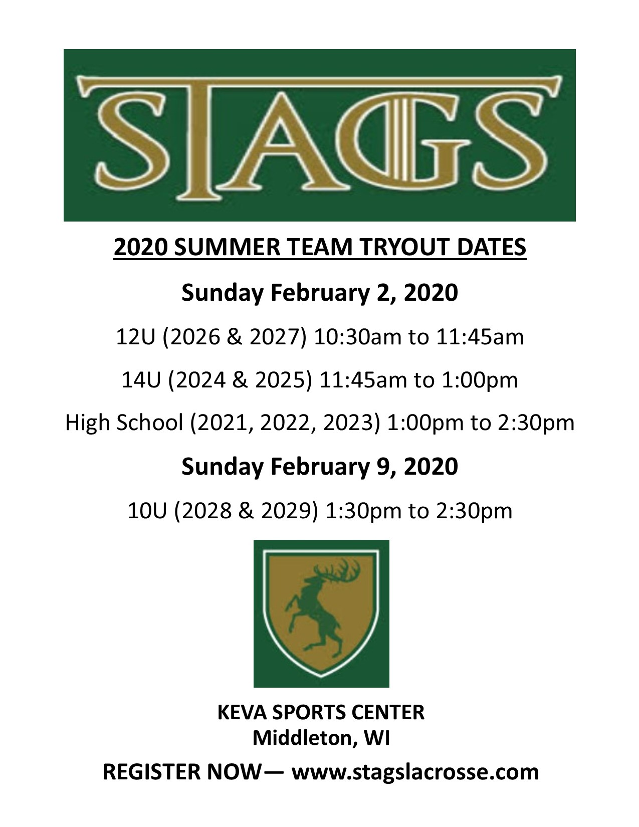 Stags summer 2020 tryout graphic