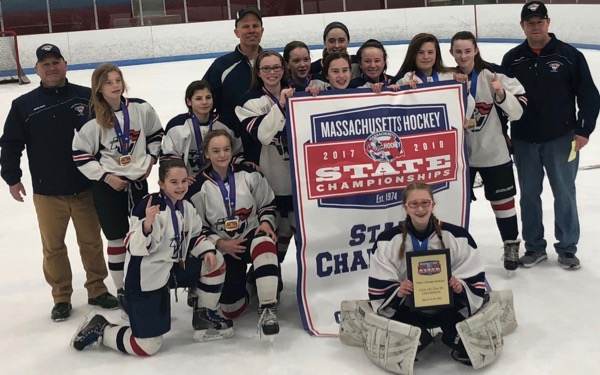 The King Philip Walpole Girls U12A team won the 2018-19 Mass Hockey Tier III state championship.
