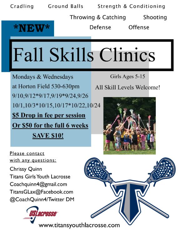 Titans Girls Lacrosse Fall Clinic Flyer