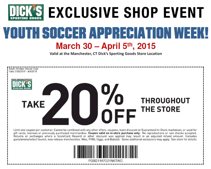Dick's Sporting Goods Youth Soccer Appreciation Week - Take 20% off through the store
