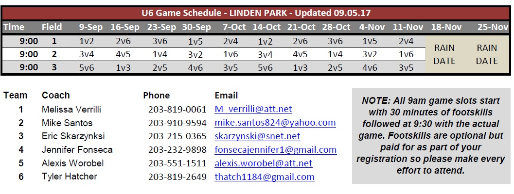 NYS U6 Fall 2017 Schedule