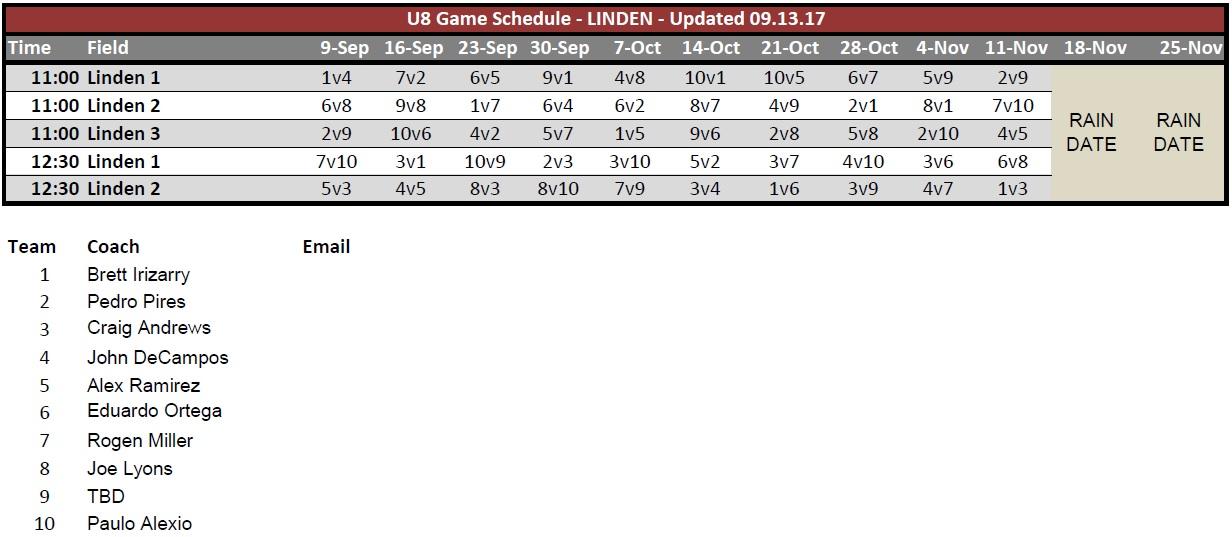 NYS U8 Rec Fall 2017 Game Schedule