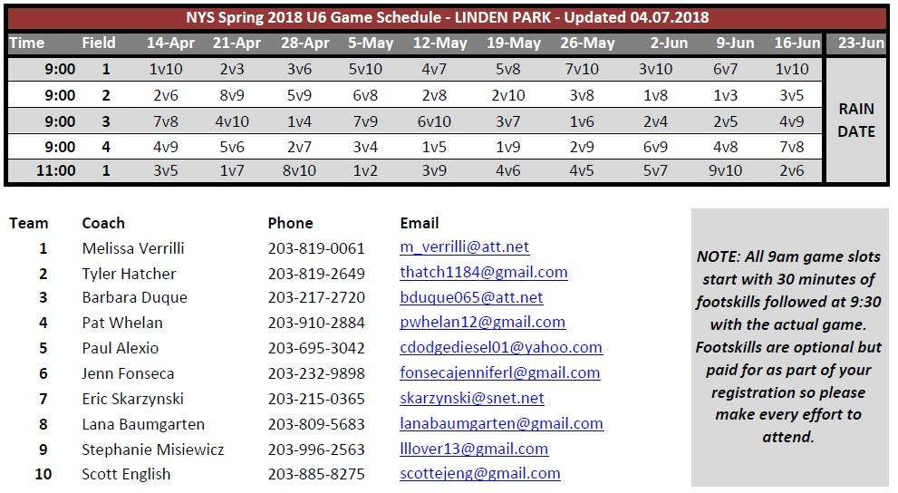 U6 Spring 2018 Schedule