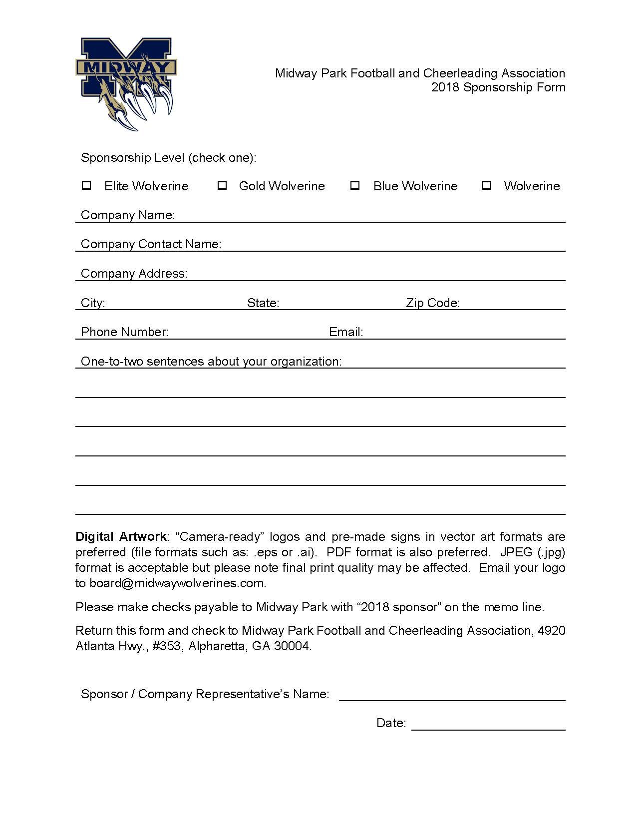 Corporate sponsorship form midway wolverines football corporate sponsorship form midway wolverines football cheerleading association 1betcityfo Gallery