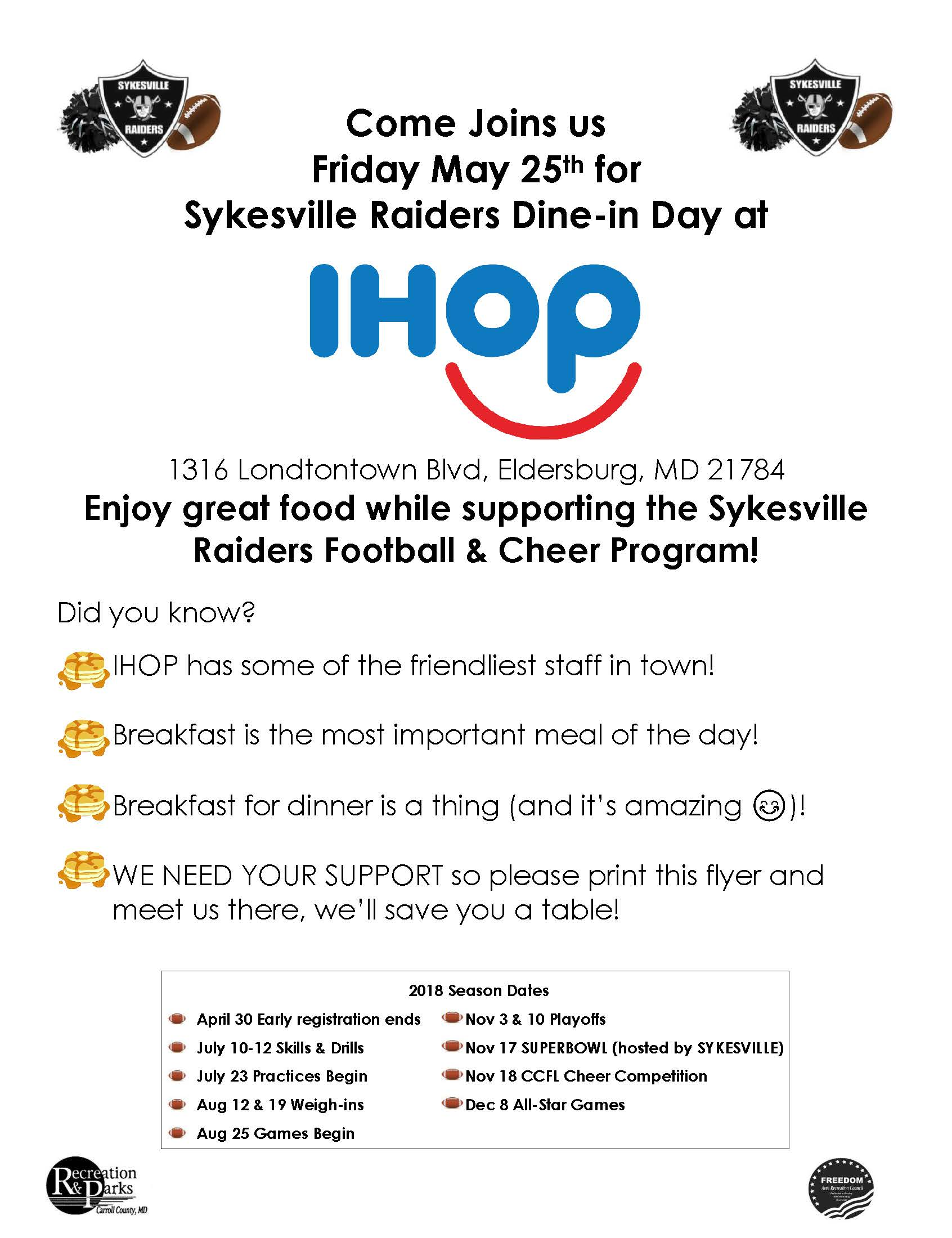IHOP 5/25 | Sykesville Raiders Football and Cheerleading