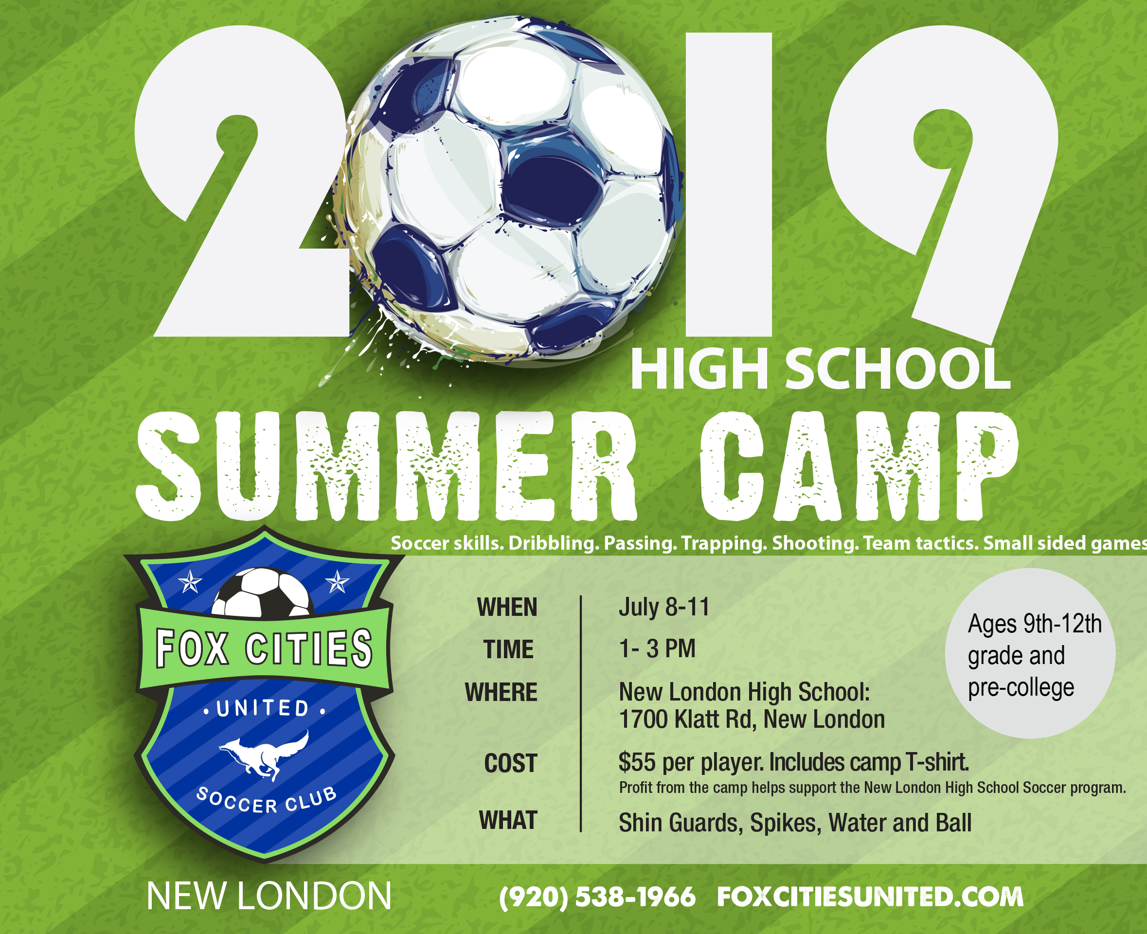 High School Soccer Summer Camp New London WI