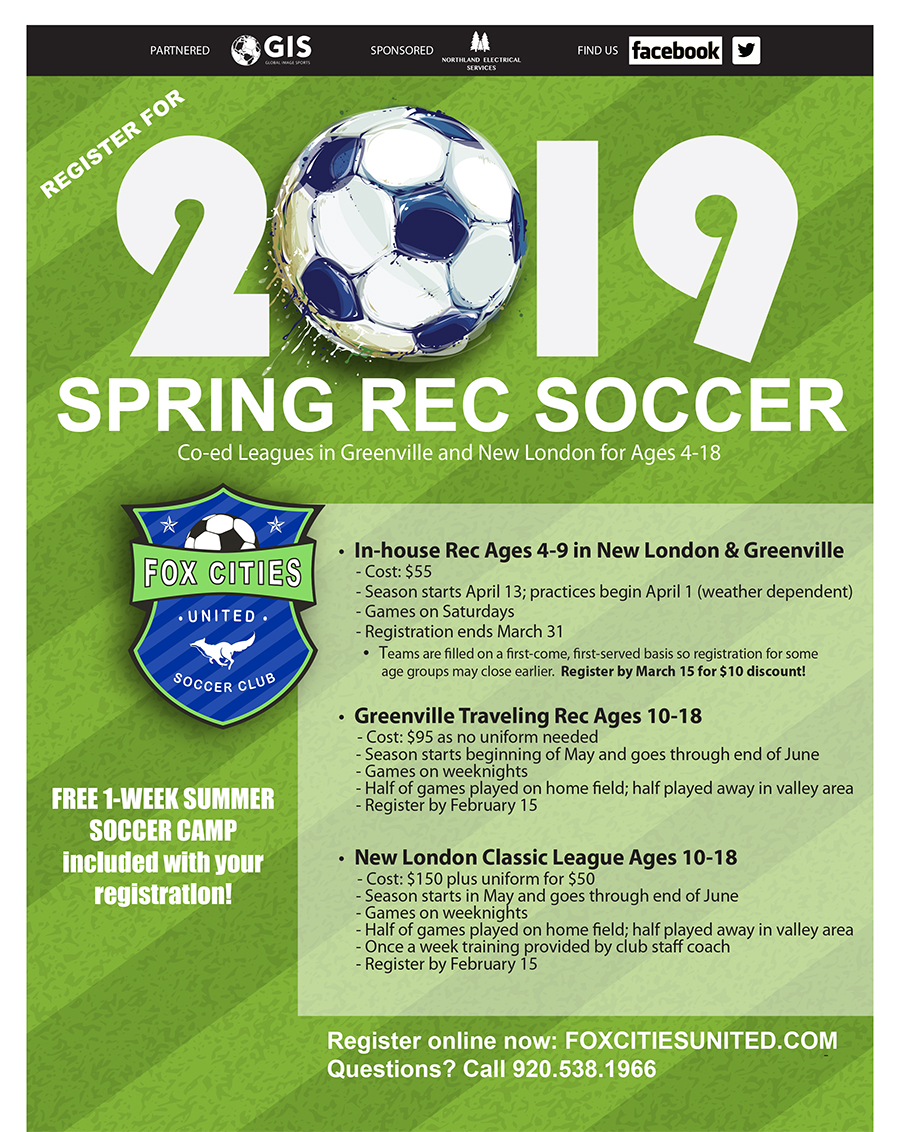 Spring rec soccer Greenville Wisconsin and New London Wisconsin