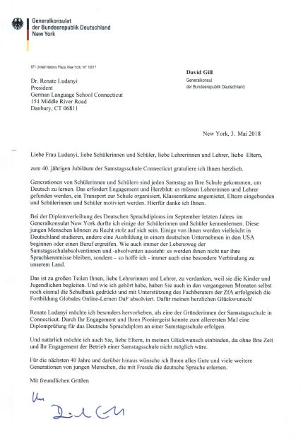 Letter of the General Consul of Germany in New York