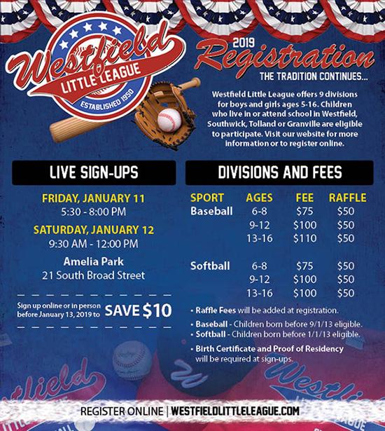 2019 Westfield Little League Registration Flyer