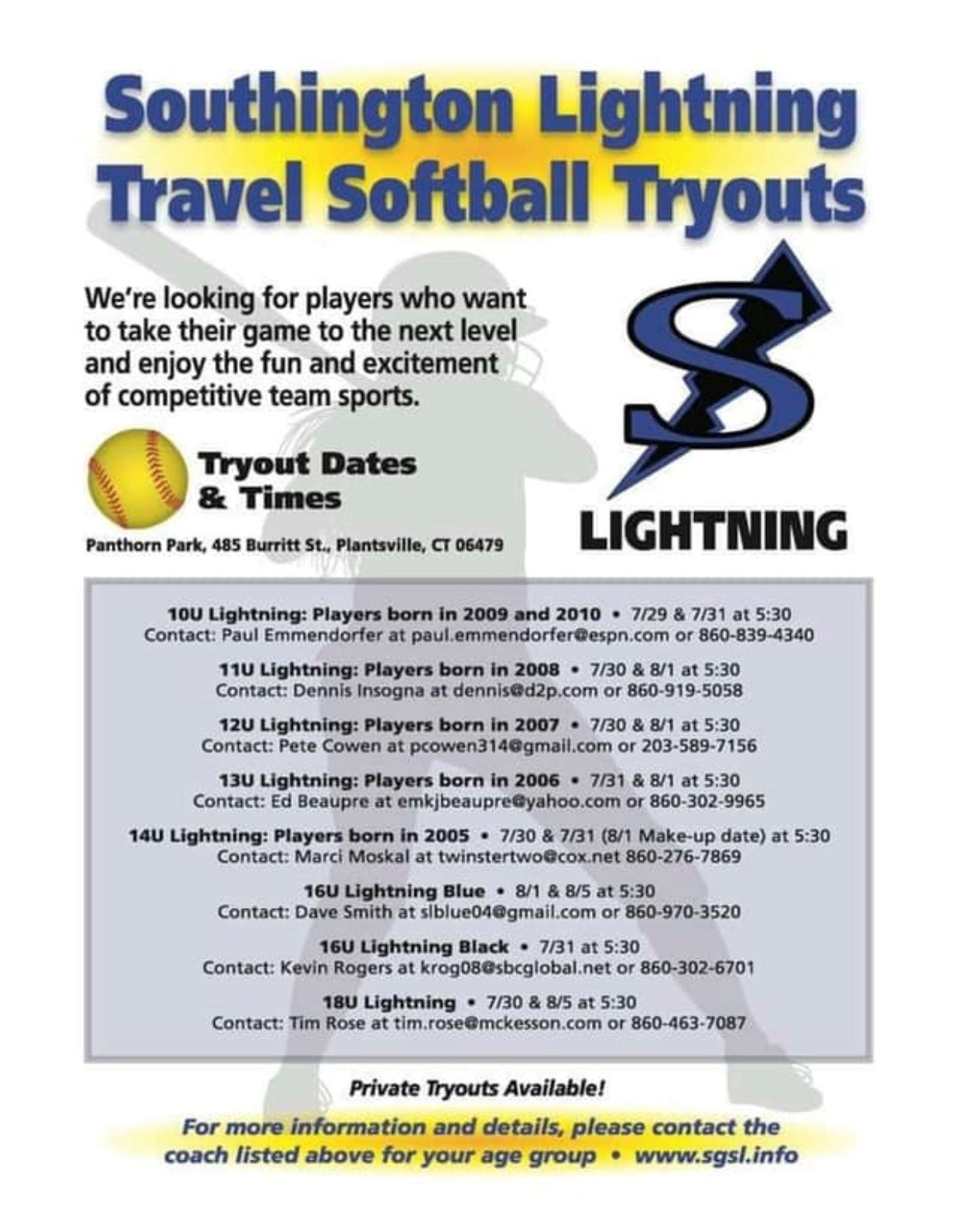2019/2020 Try-Out Information | Southington Girls Softball League