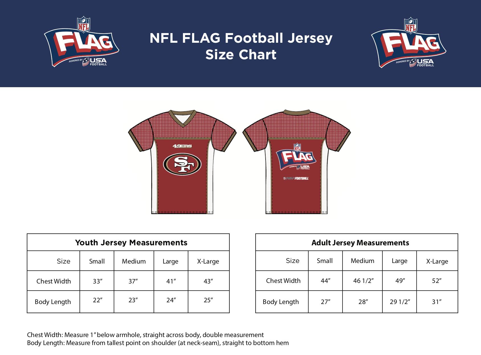 7c2b3c3e Jersey Size Chart   Wilton Youth Football