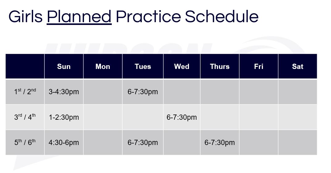 84d7f791029f Girls Practice Schedule