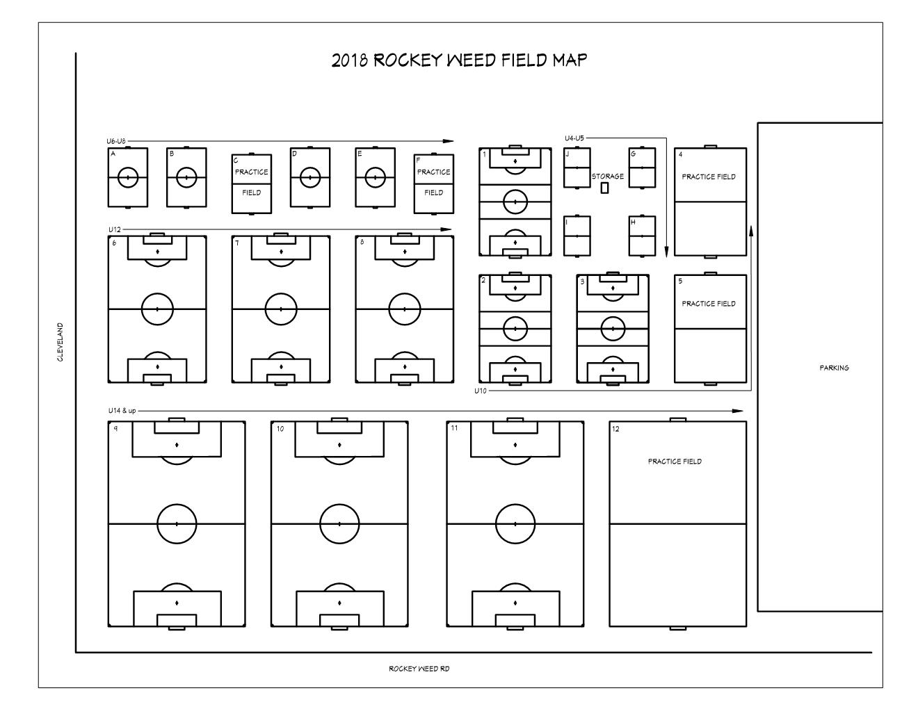 2018 Field Map for Rockey Weed Soccer Complex