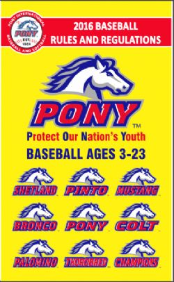 2016 Pony Baseball Rulebook