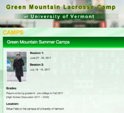 Green Mtn Lax Camp for GIRLS 8th grade and up