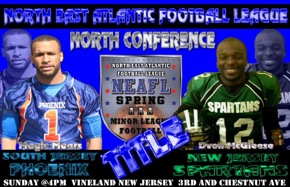 The (1) South Jersey Phoenix will host the (2) New Jersey Spartans on  Sunday @4pm at the Vineland Midget Football Field on 3rd and Chestnut Ave  in Vineland, ...