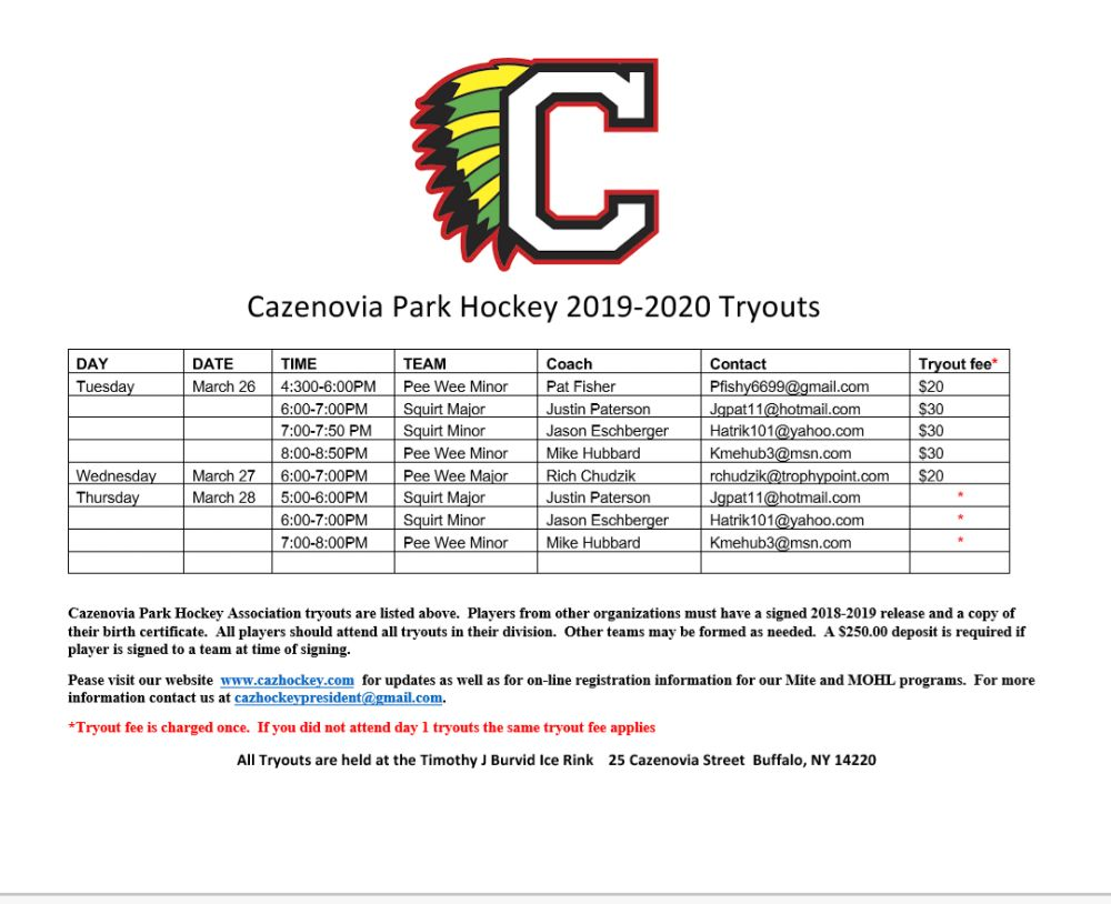 Cazenovia Park Hockey Association