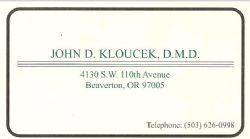 John D. Kloucek, DMD